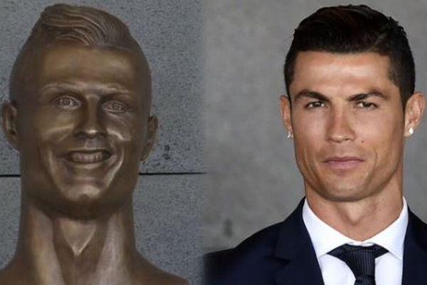 空港に飾られたC・ロナウド選手のブロンズ像、別人のようだとしてファンが困惑