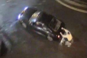 車椅子が自動車の後部に捕まって走行、防犯カメラがきっかけで運転手も逮捕