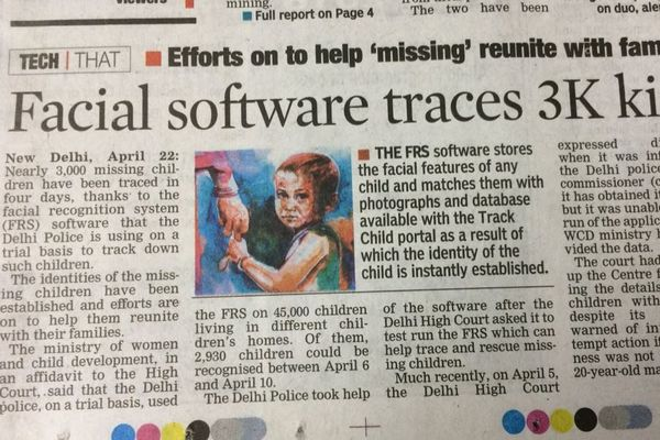 顔認証システムにより5日間で約3000人の行方不明の子供を特定:インド