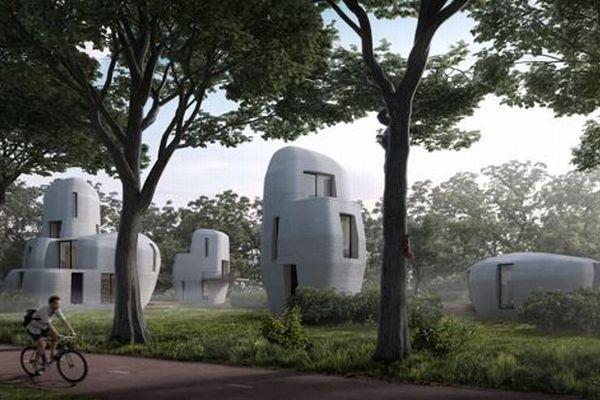 緑の中に並ぶ近未来的な建物、3Dプリンターで作るオランダの家が魅力的