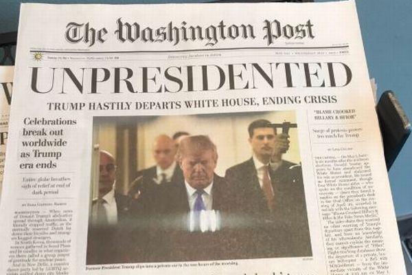 「トランプの時代は終わった!」ホワイトハウス付近でフェイク新聞が配られる