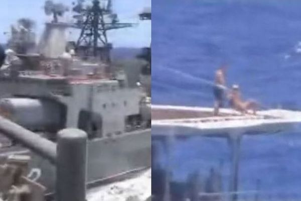 米露の艦艇が危うく衝突、異常接近の直前にロシア兵は日光浴を楽しんでいた!【動画】
