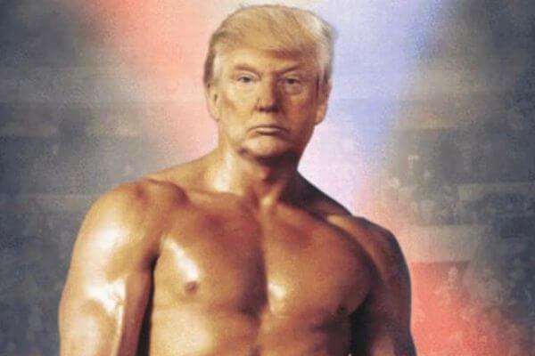 トランプ大統領がロッキーに変身、謎の合成写真をツイッターに投稿