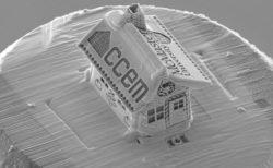 電子顕微鏡とイオンビームで作ったお菓子の家、髪の毛の直径より小さい