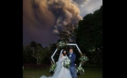 【フィリピン】噴火するタール火山を背景に撮影された結婚式の写真が話題に