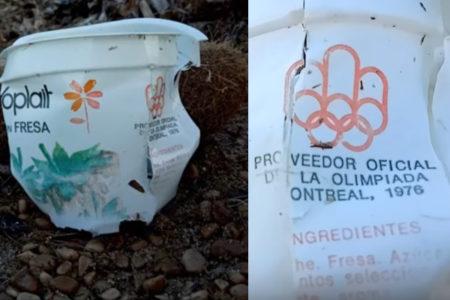 海岸で1976年オリンピックのヨープレイトを発見