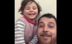 戦争の恐怖から救うために…娘を楽しませるシリア人の父親の動画が胸を打つ