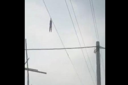 高圧電線にぶら下がる少女 拡散された動画は本物だった!
