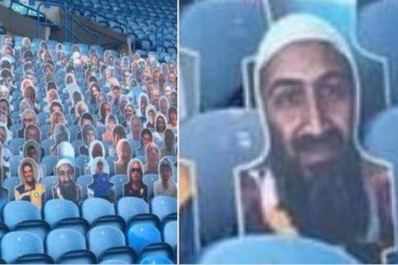 英サッカーチームが、無観客の客席にビンラディンの切り抜きを飾ってしまう