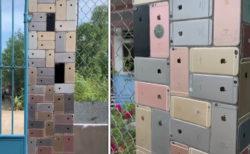 門柱の装飾タイルが全部iPhone6、投稿動画に目玉が飛び出る