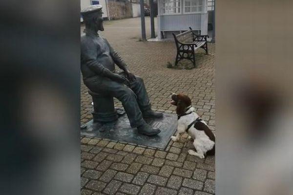 「ねえ、ボールを投げてよ!」銅像と遊ぼうと待ち続けるワンコが可愛い