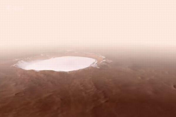 ESAが火星にある「氷に覆われたクレーター」の動画を公開