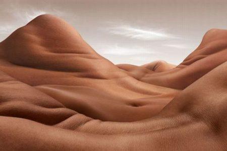 人間の体を岩や砂漠として表現、不思議な風景写真の作品