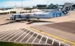 イギリスの空港で前代未聞の事故、ブレーキが効かずに他の機体に衝突