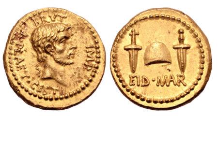 ジュリアス・シーザー暗殺を記念したローマ時代の金貨がオークションに