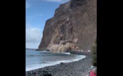 カナリア諸島の島で大規模な崖崩れ、ビーチにいた人が撮影した動画が恐ろしい