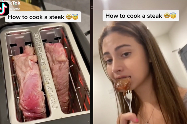 トースターでステーキを焼く女性に、TikTokユーザー困惑