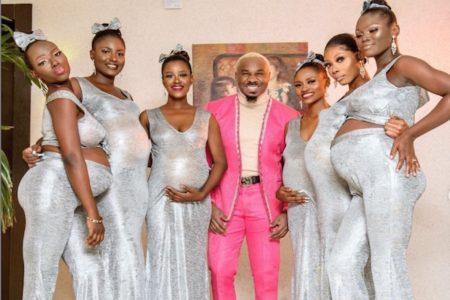 有名人の結婚式に6人の妊婦を連れて出席し、一番注目されたナイジェリアの猛者
