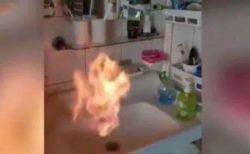 蛇口から出る水が燃え出した!中国当局が原因究明へ