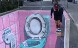 カナダの街に描かれた3Dアート、見ている人も混乱するトイレが面白い