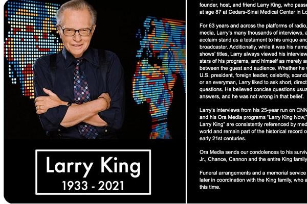 アメリカの人気司会者ラリー・キングが死去。先月新型コロナにより入院
