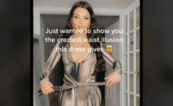 ドレスの紐を引っ張ると、ウエストが異常な細さになる動画が不思議