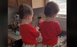 父親の目を盗んでチョコを食べていた双子、注意された時のリアクションが可愛い