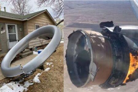 米で旅客機のエンジンが破損、巨大な部品が地上へ落下