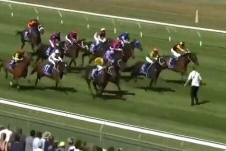 NZの競馬場に突然男が乱入、疾走する馬たちの前に立つ