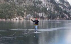 傘に風を受けてスイスイ、湖の上をスケートで滑っていく動画が楽しそう