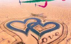 ドバイにある「ハート型」の湖、砂漠に作られ人気スポットに