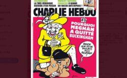 仏新聞がエリザベス女王の風刺画を掲載、メーガン妃を膝で押さえる姿が物議に