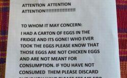 職場で卵を盗まれた女性、犯人へのメッセージが秀逸