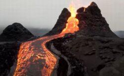 アイスランドで噴火した火山、溶岩をとらえたドローン映像が圧巻