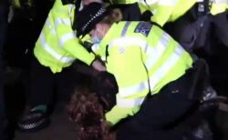 ロックダウン中のイギリス、殺害された女性の追悼集会で議会前を数百人が行進