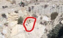 山道でマウンテンバイクが落下、崖に引っかかり、落ちる寸前の男性を発見