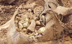 インドの村で土地の区画整理中に財宝を発見、大量の金や銀の装飾品が出てきた!