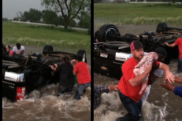 濁流の中に横転した車!子どもたちの命を救った見知らぬ人々【過去のワダイ】