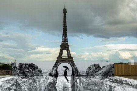 エッフェル塔が崖の上に立つ?パリに錯視を利用したアートが登場