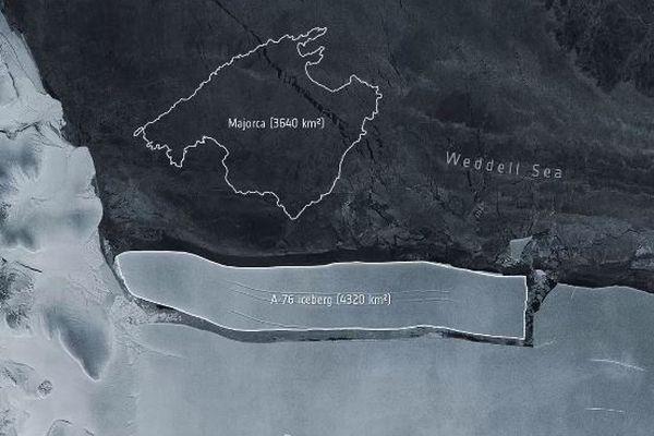 南極にこれまでで最も巨大な氷山が出現、面積はNY市の約6倍