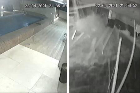 屋上プールの底が抜けた!階下の様子をカメラが捉えた