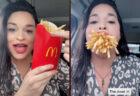 マックフライポテトLを一口で食べる大口女性が凄い