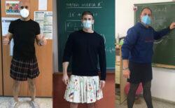 服装のジェンダーフリーを支持する学校の先生たちが、スカートで授業【スペイン】