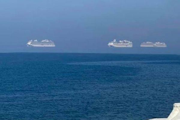 3隻のクルーズ船が空中に浮いた?キプロスで不思議な現象を撮影