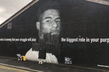 イングランドのPKに失敗した選手の壁画に、人種差別的な落書き