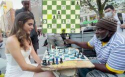 謎の美女がNYの公園でチェスの勝負、8分で相手を打ち負かす