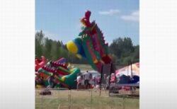 ベラルーシで空気の入ったお城が強風で舞い上がる、子供らが放り出されて負傷