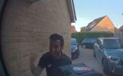 【サッカー】イングランドが得点を入れ、ピザ配達員が喜ぶ姿をドアホンが撮影