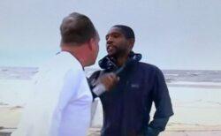 テレビの生中継中、レポーターが男から言いがかりをつけられ、胸ぐらを掴まれる
