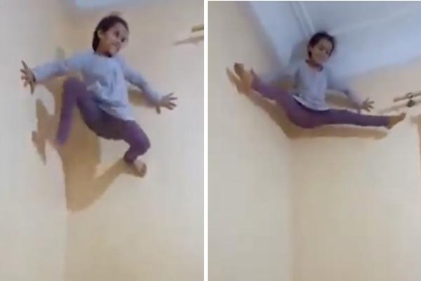 素手で壁に登り足をヒラヒラ、リアルスパイダーガールの技が凄い